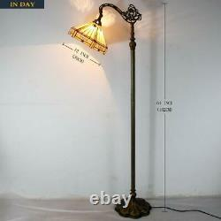 Yellow Tiffany Style Reading Lamp Hexagon Stained Glass Lampshade in 64 Inch